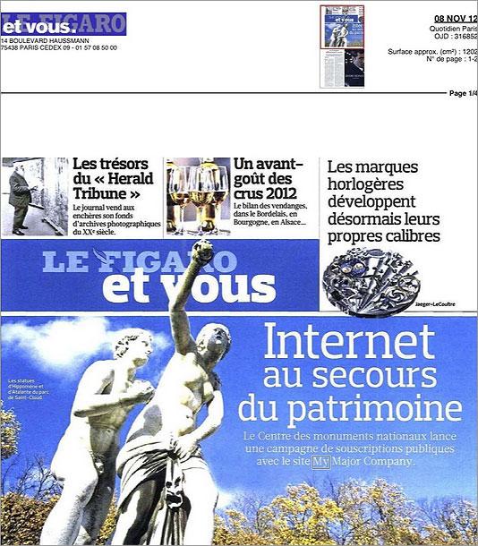パンテオン修復費用調達のクラウド・ファンディング・キャンペーンについて報じるメディア(11/08/2012)