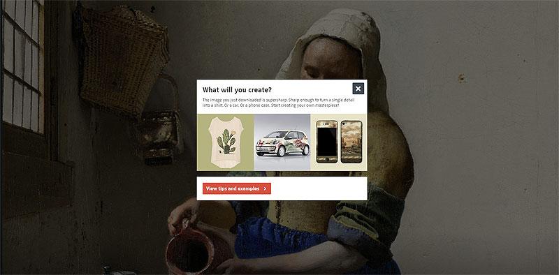 「T シャツからテーブルウェア、壁紙からスクーターまで Rijksstudio 使ってなんでも作って!」というページへの誘導。