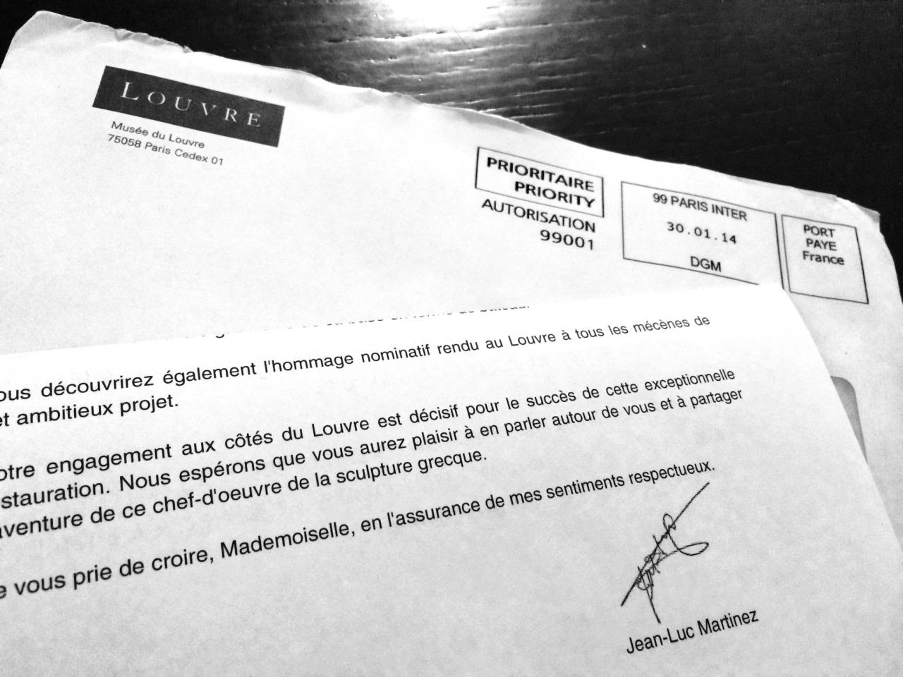 ルーヴル美術館からの御礼の手紙